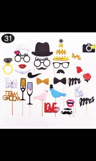 Team-Bride PhotoBooth Props DIY Bride To Be Mr Mrs Photo Props Just Married Bachelorette Party Decor Funny Glasses Mustache Prop