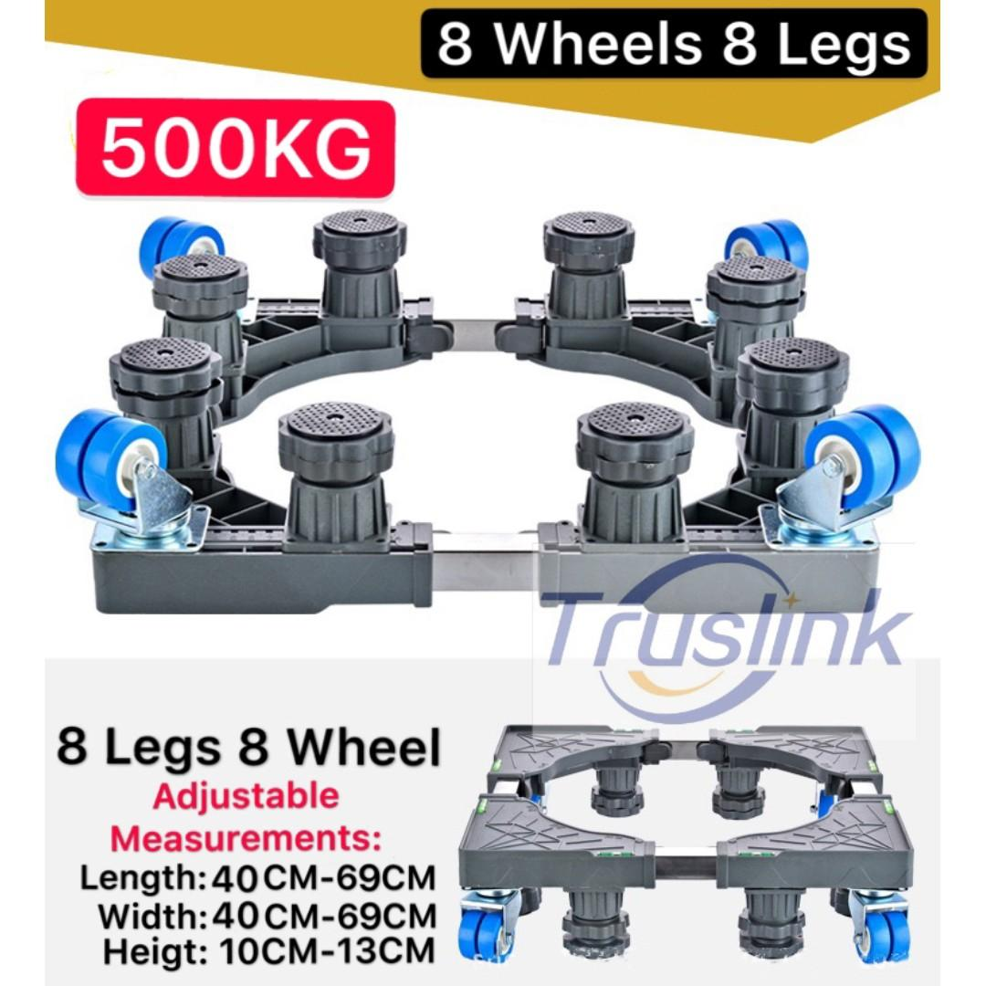 8 Legs 8 Wheels Multi-functional Movable Adjustable Base Stainless Steel Poles Support with Casters Mobile Case/dolly/roller, Strong Feet Protable for Washing Machine, Dryer and Refrigerator, Cabinet