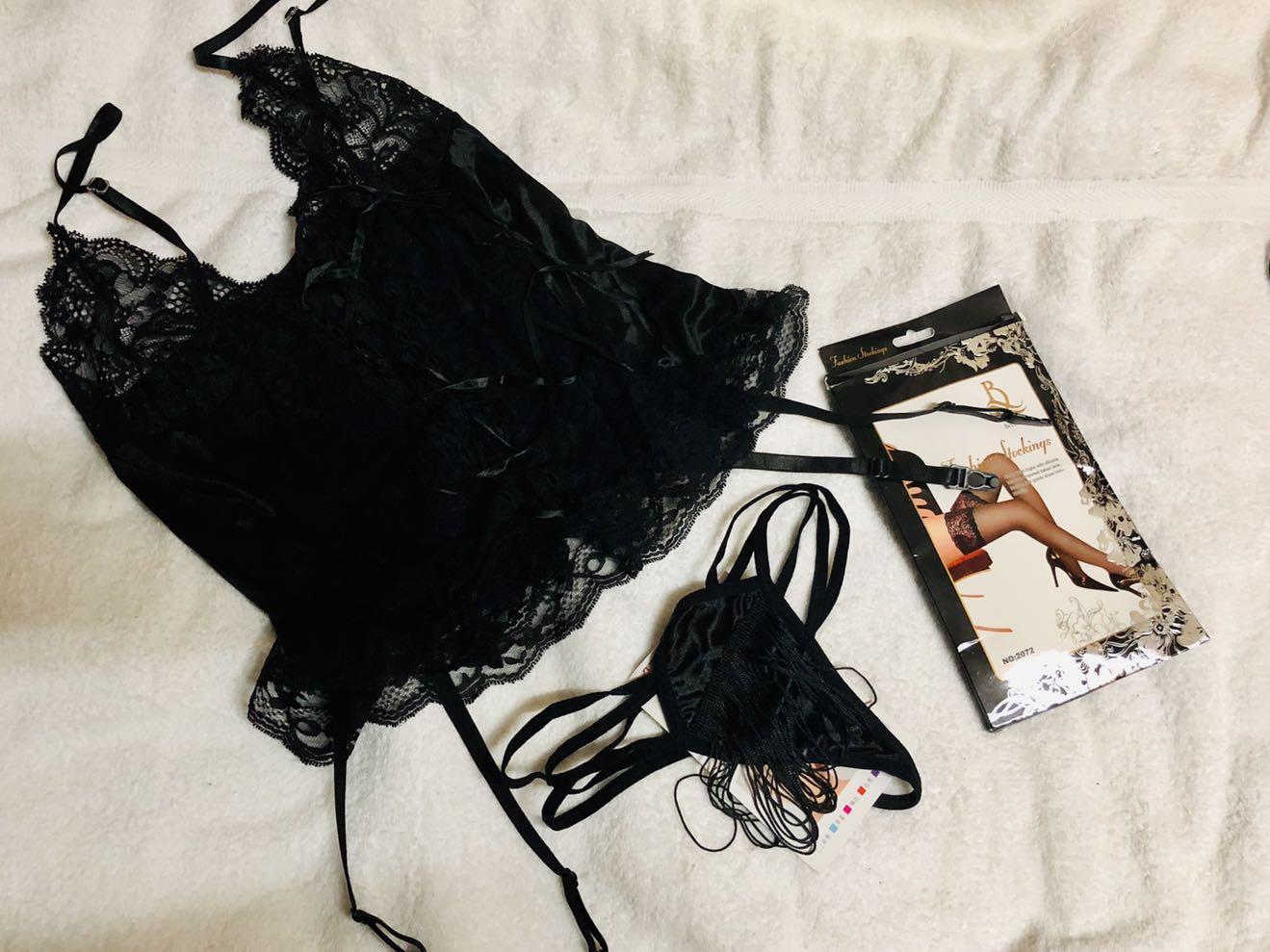 🈹台灣內衣 黑色lace絲質半透視性感內衣 連內褲及性感絲襪