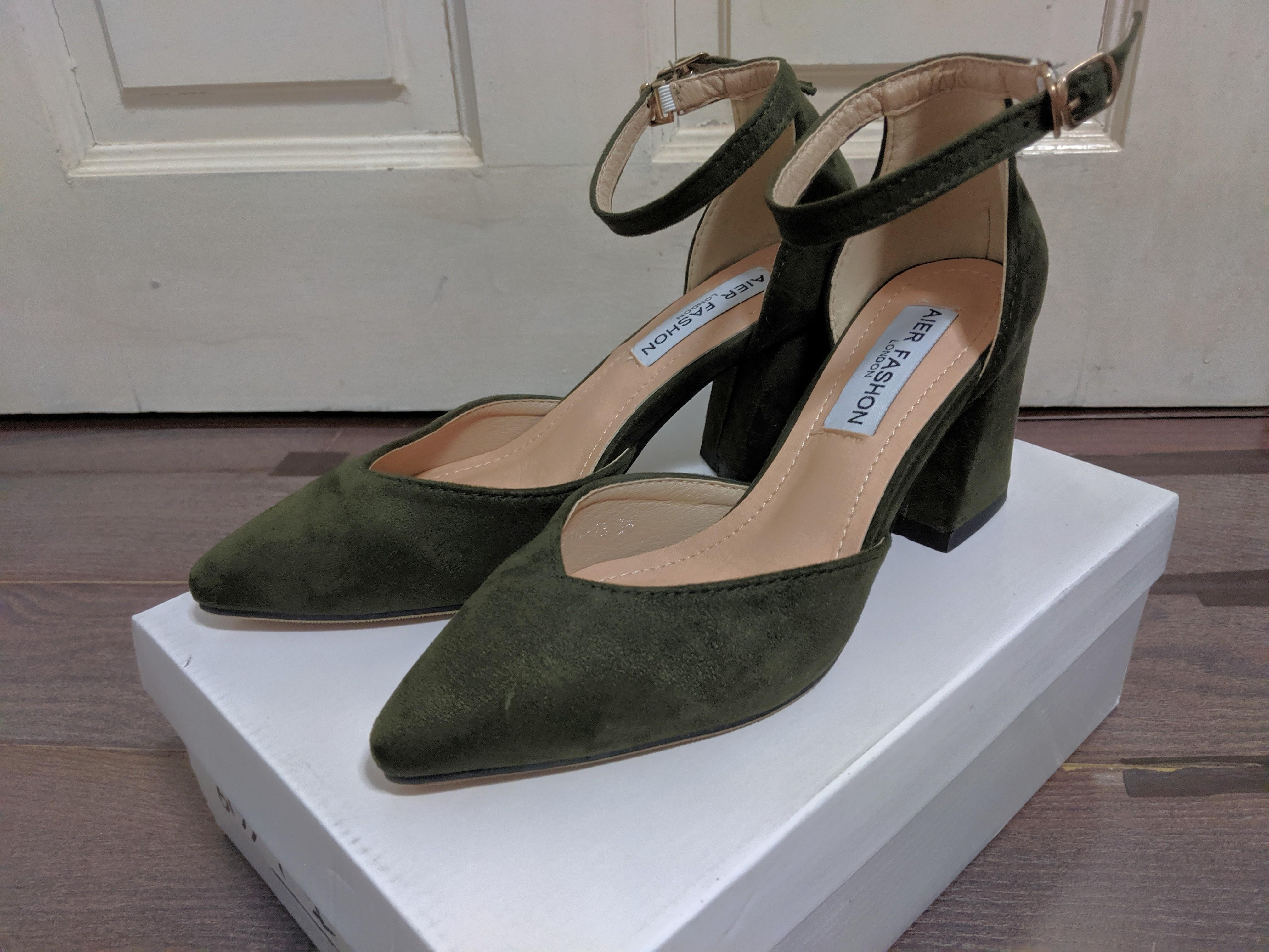Army green block heels, Women's Fashion