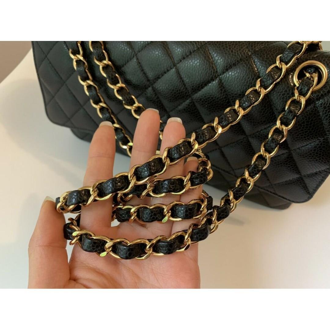 Authentic Chanel Double Flap Classic Black Caviar Gold Hardware