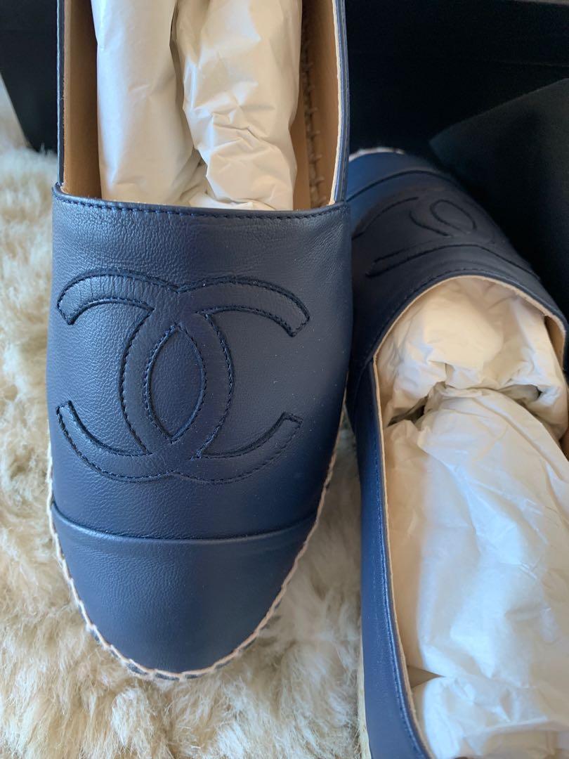 Authentic Chanel Espadrilles Lambskin Size 39 RARE