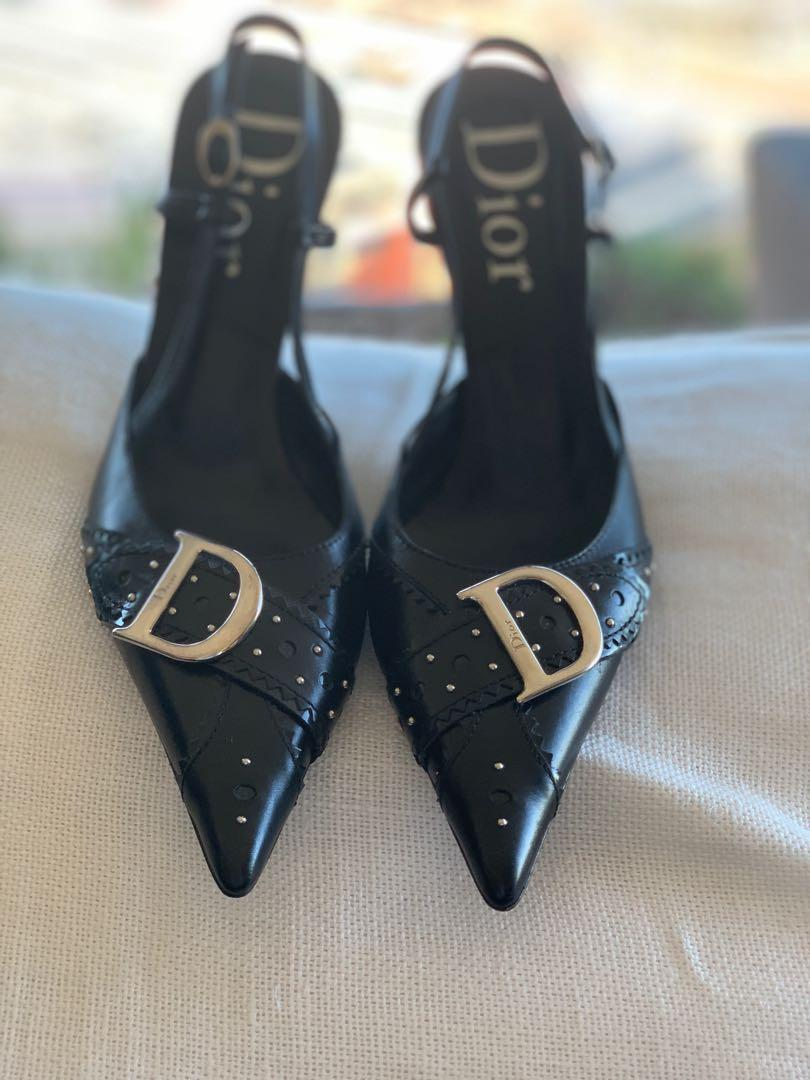 Authentic Christian Dior Black Pumps Size 37 Excellent Condition