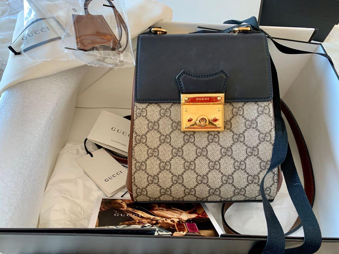 Authentic GUCCI GG Supreme Canvas & Leather Padlock Backpack SOLD OUT RARE