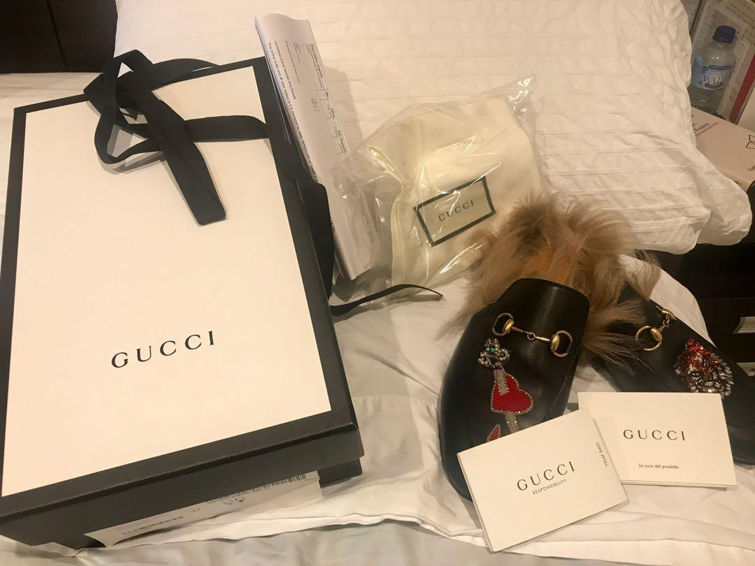 Authentic Gucci Princetown Mules Size 37 Excellent Condition