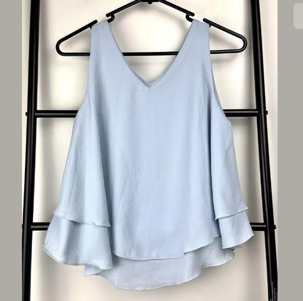 Blue pastel sz S/M tank V-neck top shirt blouse smart casual flowy cute party