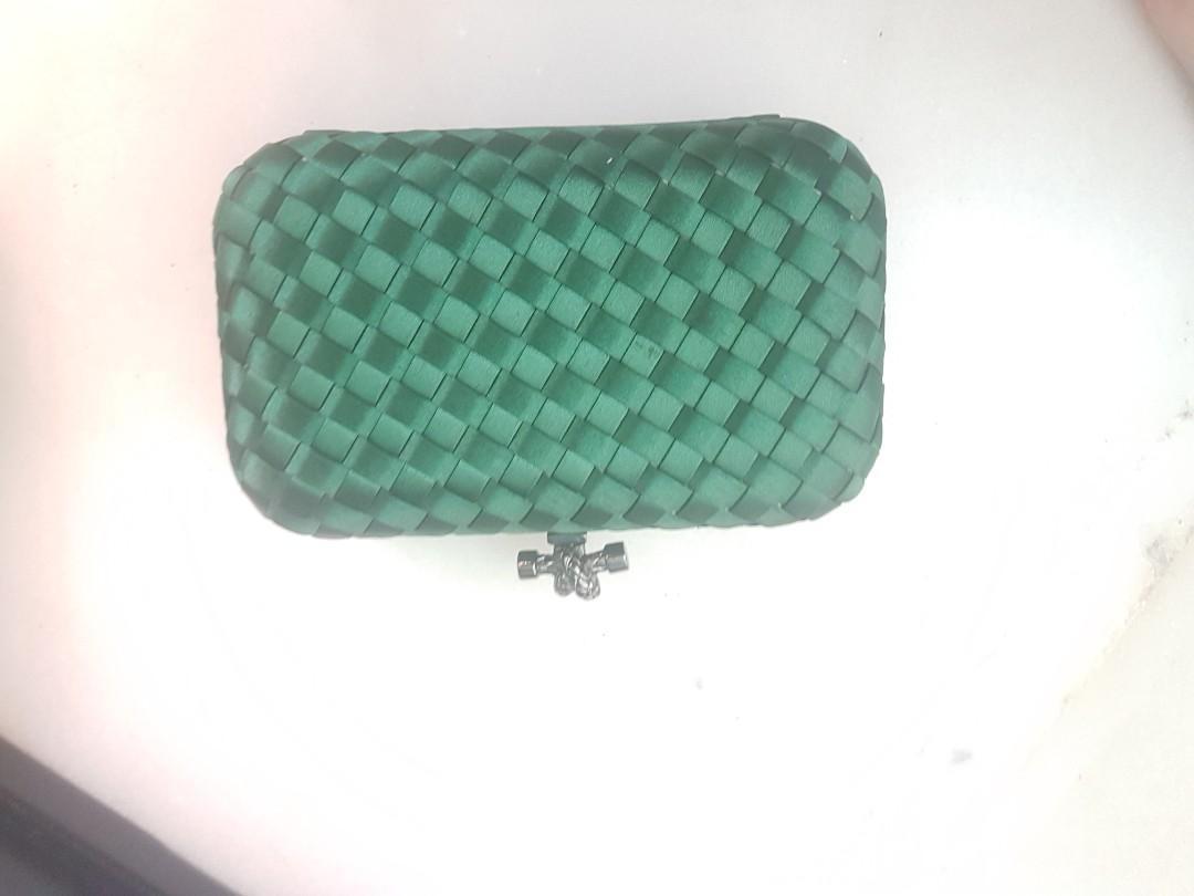 Bottega Venatta Green Clutch Evening purse bag