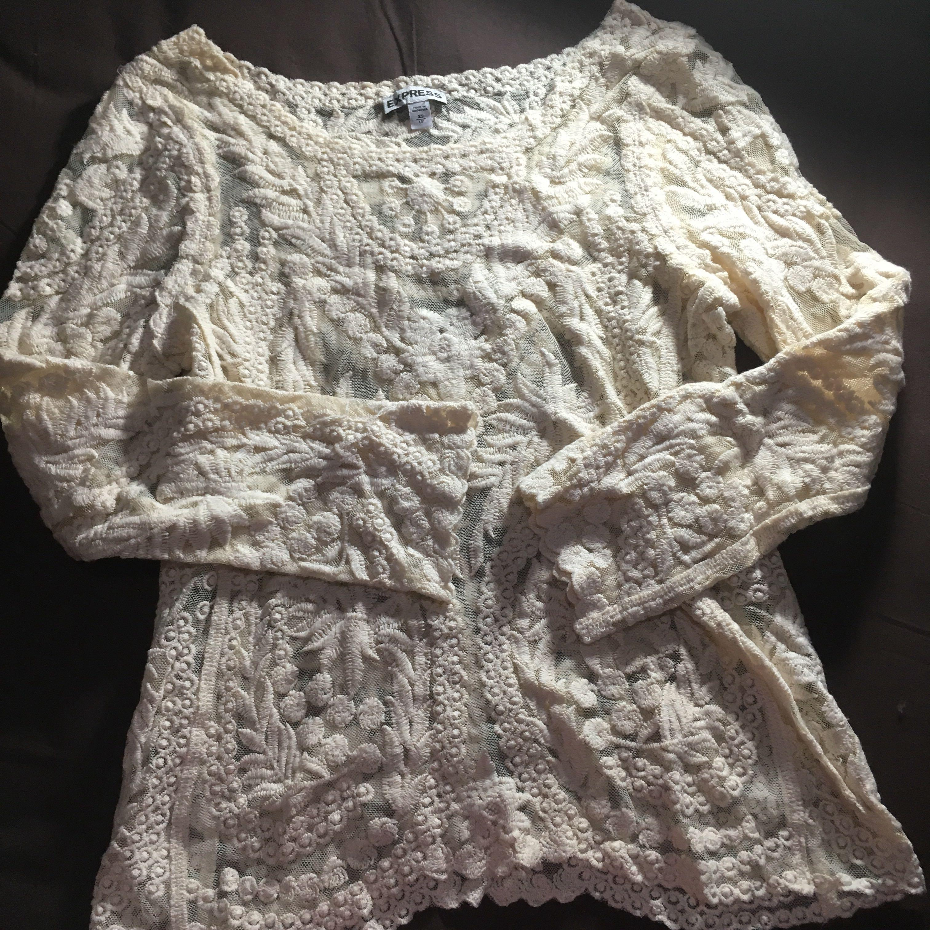 Broken White Brocade Top