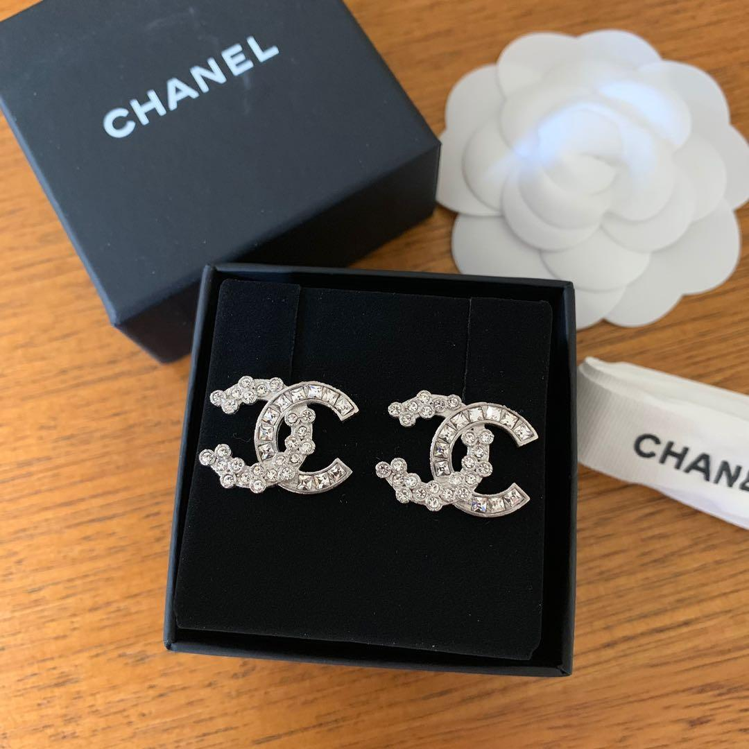 Chanel CC Square Round Crystal Silver Stud Earrings