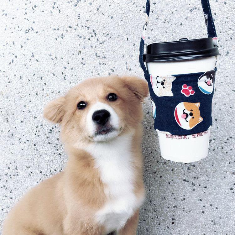 Cute Corgi/ Shiba Eco-friendly Reusable Bubble tea Cup cloth carrier / Cup Sleeve