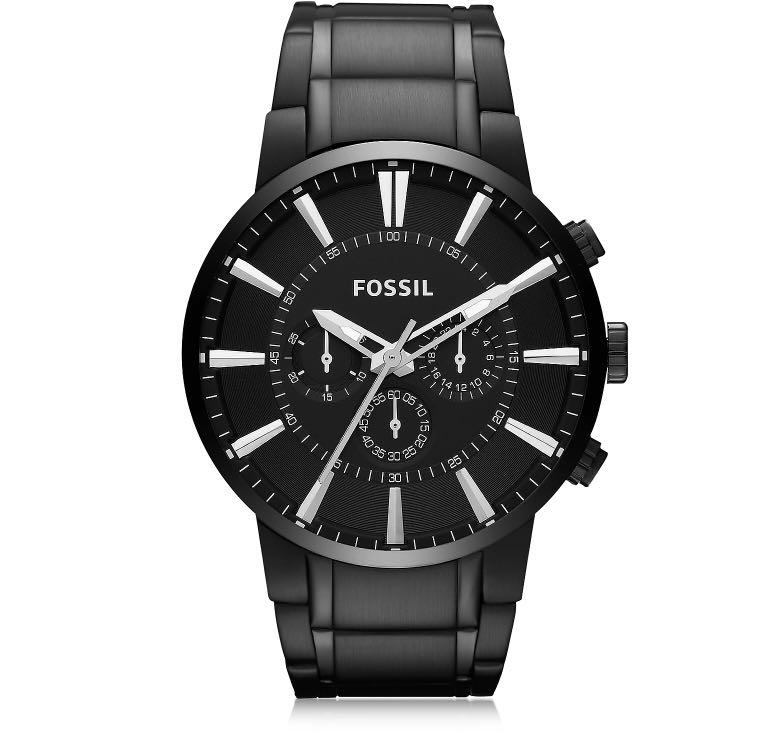 Fossil Black Stainless Steel Men's Chronograph Watch