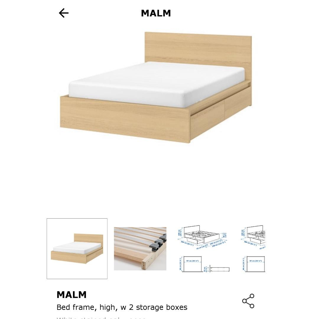 Ikea Malm Kingsize Bed Frame With Storage Brand New Furniture Beds Mattresses On Carousell