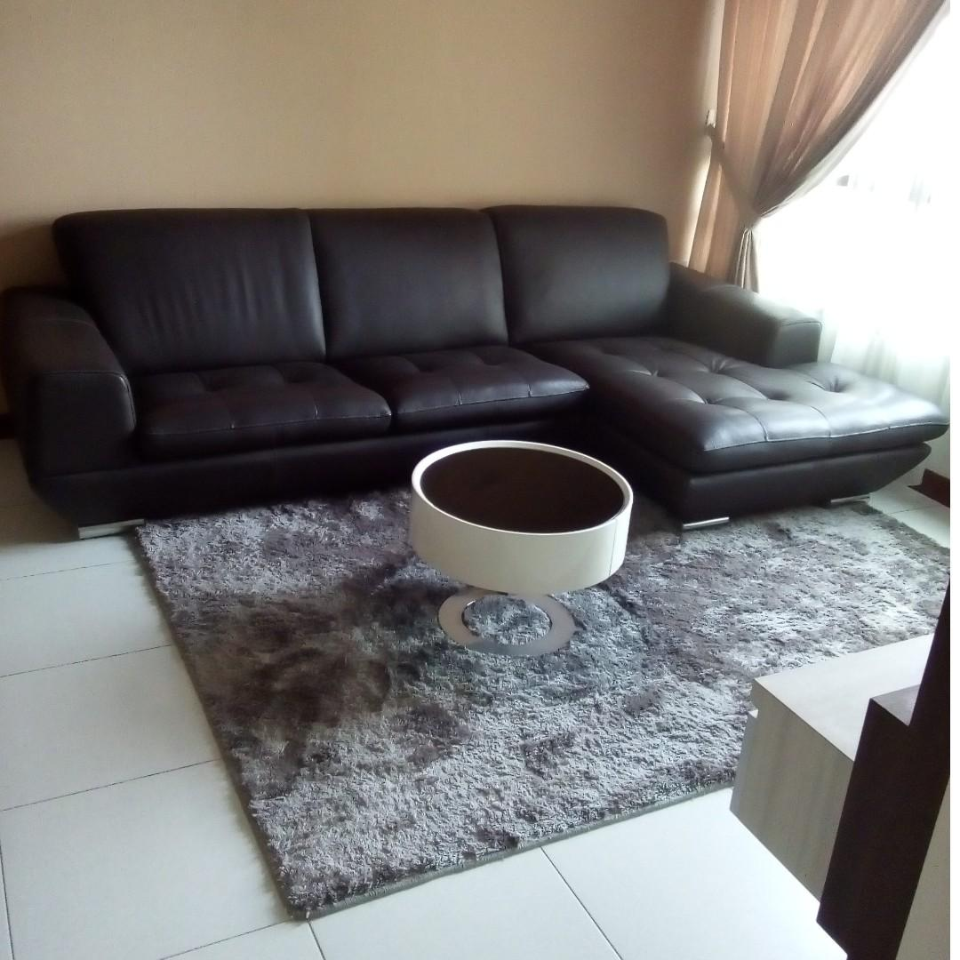 Large Genuine Leather L-shaped Designer Sofa + Free Carpet