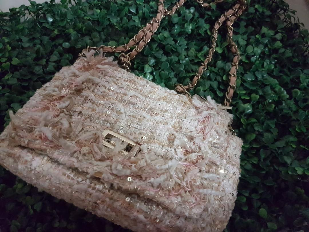 New Japan Imported Chanel/ D&G style pink tweed mini bag boucle shoulder