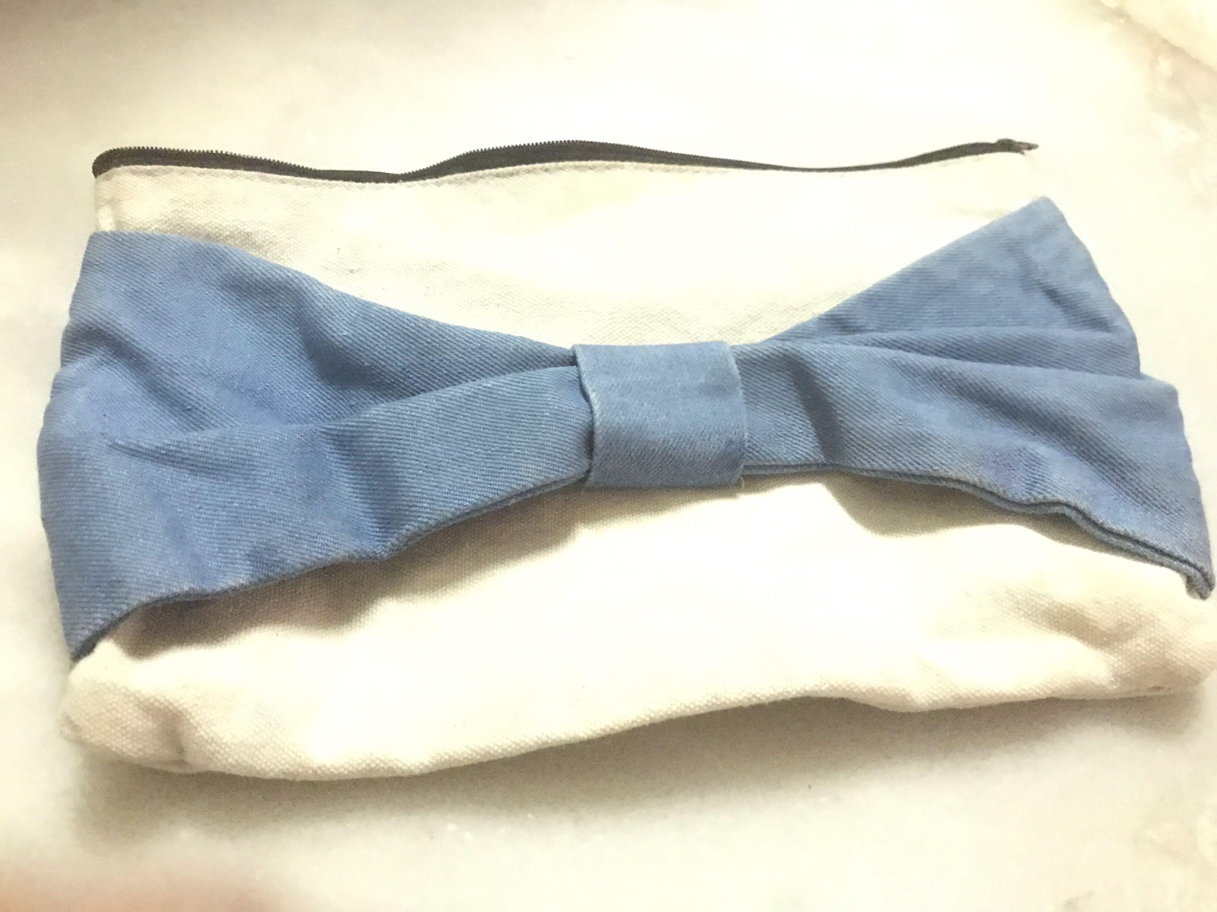 New Japan Imported School Girl Denim Ribbon Bow Clutchh