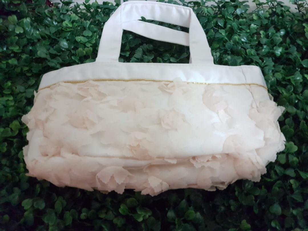 New Jill Stuart Rosette Mini Bag Tote pouch rose pink white purse makeup case