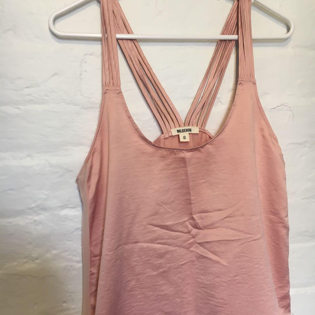 Pastel Baby Pink Satin Singlet Top | Brand: RE:DENIM | Size 10