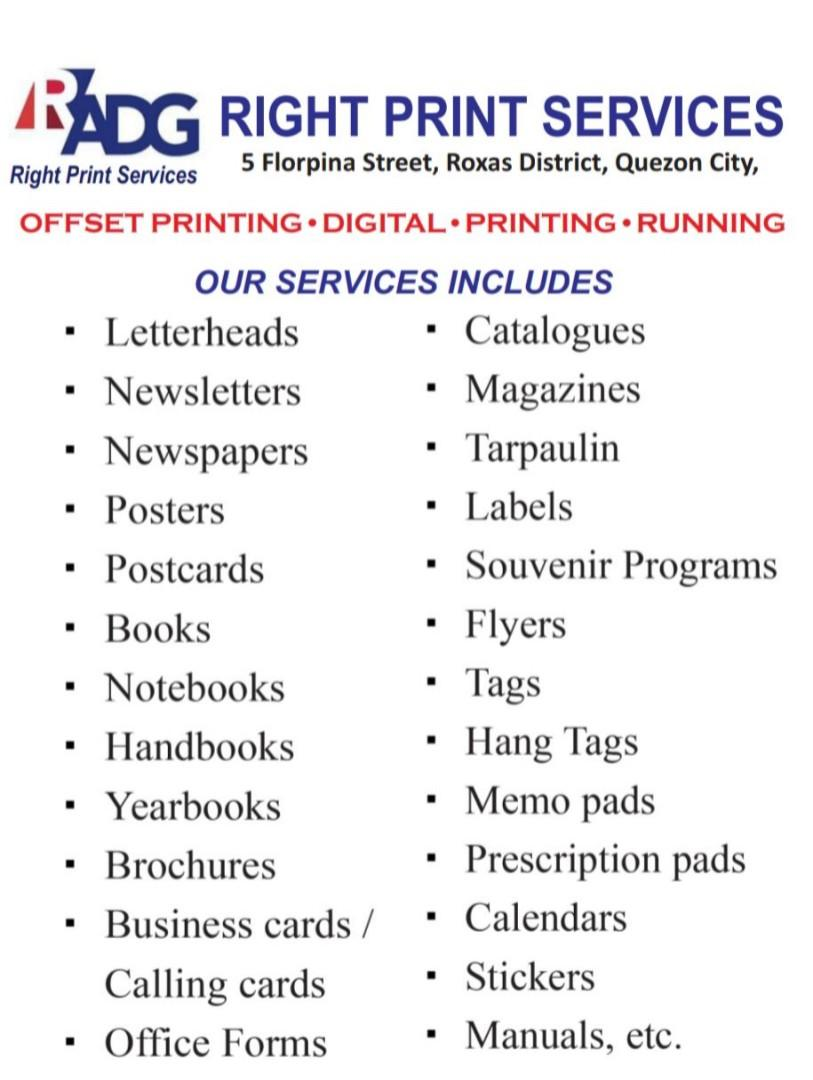 Printing, Posters, Yearbooks, Albums, Paper and Printing services, and much more!