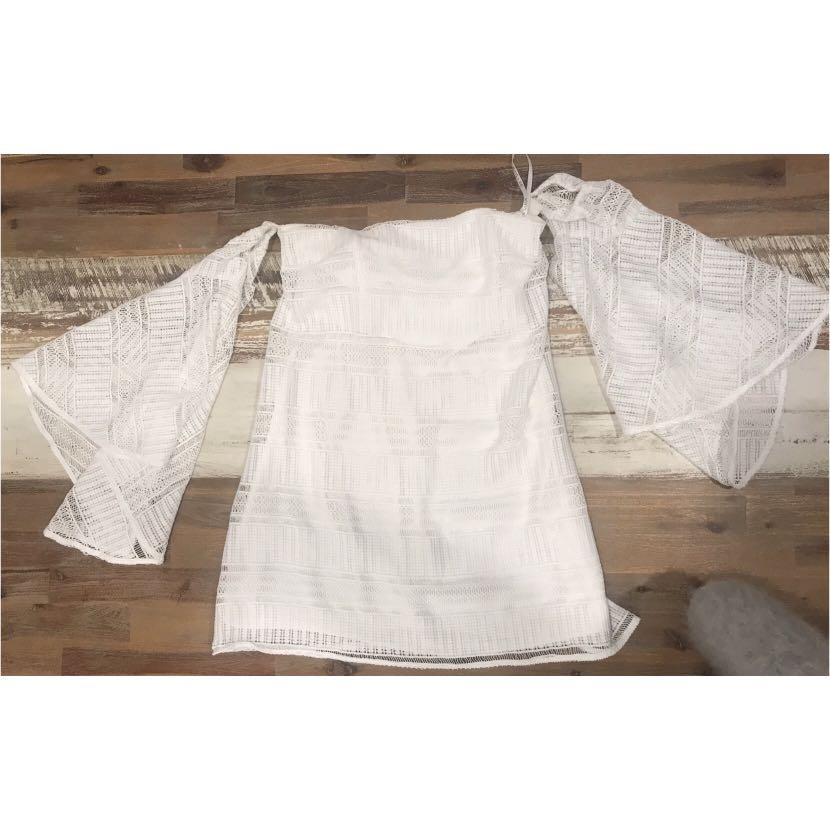 Shona Joy Aruba Flared Sleeve Strapless Mini Dress