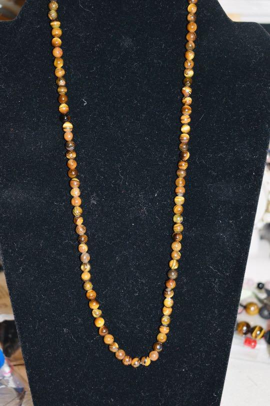 Tiger eye necklace 6mm genuine tigers eye beaded necklace