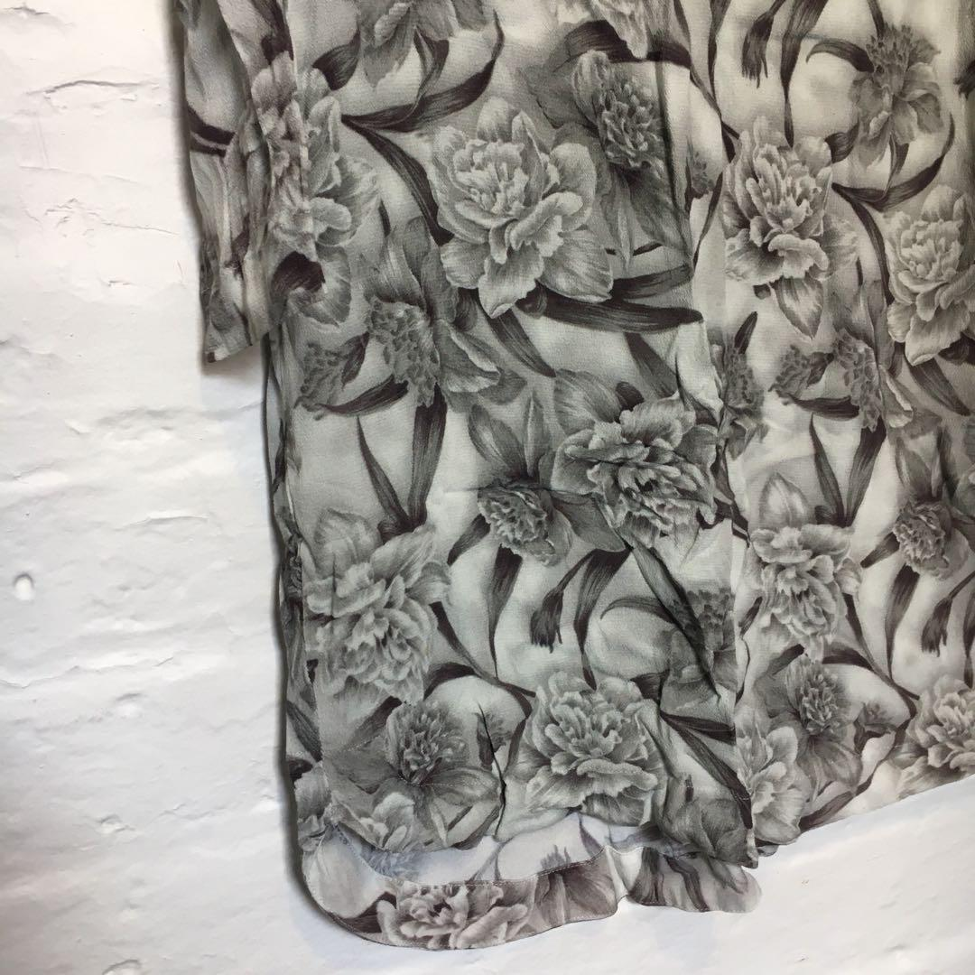 ZIMMERMANN   Black & White Floral Print Chiffon Shift Dress