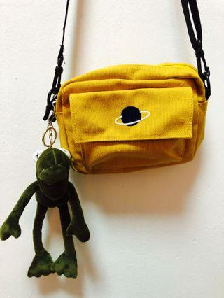 BN Canvas yellow sling bag with frog keychain