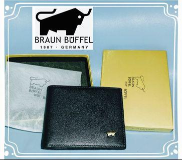 "(24Aug-1pc)Braun Buffel authentic ""antique bull"" 3D black leather men's wallet"