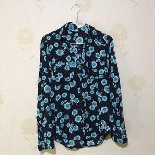 Floral Loose Shirt (Kemeja Hitam Bunga)