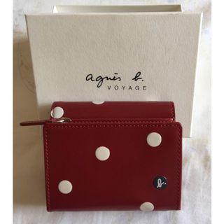 Agnes b紅色圓點短夾/皮夾/錢包
