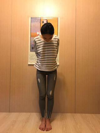韓國 灰色緊身鬆緊破褲(全新吊牌已拆)