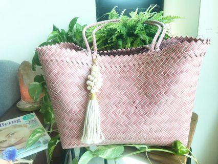 Handwoven shoulder bag handmade by villagers