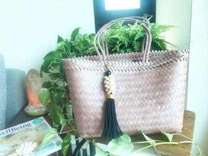 Handwoven handmade plastic bag large size with long hanfle