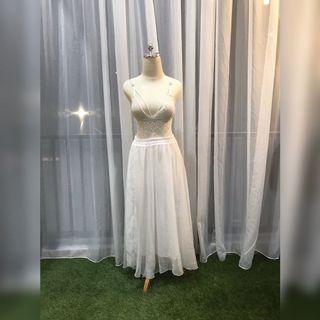 FSPV1802 - White Chiffon Maxi Skirt with Furing
