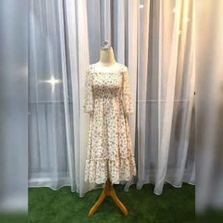 FSPV1804 - Floral Nude Chiffon Dress with Furing