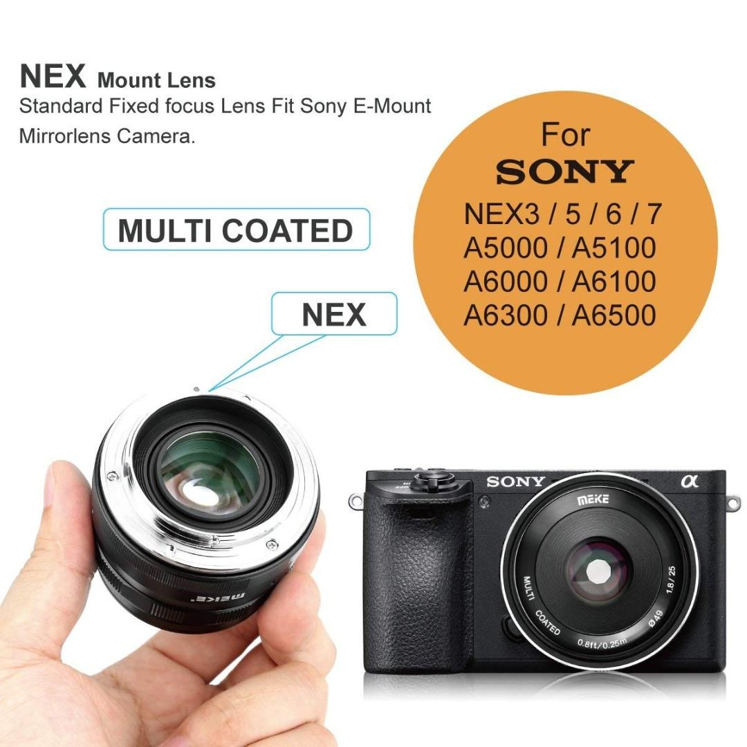 1602) Meike 25mm f/1.8 Large Aperture Wide Angle Lens Manual Focus Lens for Mirrorless Cameras (MK-25mm-F/1.8-Emount)