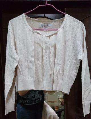 agnes b 米色針織小外套