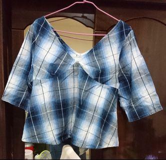 日本購入 藍色漸層格紋上衣