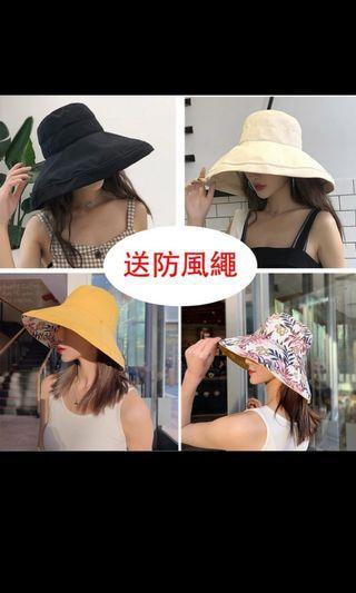 (全新)素色文青雙面可戴漁夫帽 防曬遮陽帽 黃色
