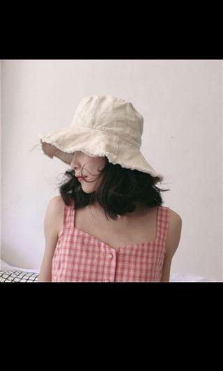 (近新) 韓版百搭文青純色簡約 漁夫帽 米白色