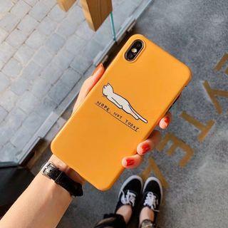 iphone XR 亮面磨砂IMD橙色貓貓全包軟殼 #2020年中慶