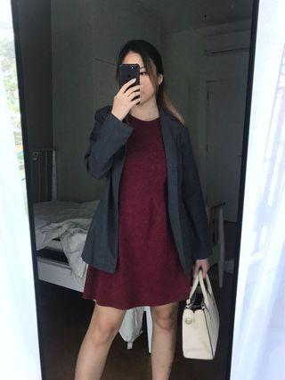 Maroon Basic Knitted Woven Skater Skirt