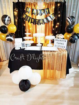 Black and Gold Theme Party Decorations