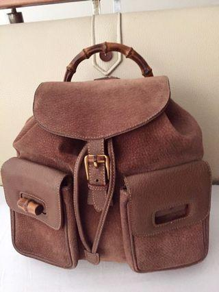 AUTHENTIC VINTAGE GUCCI BROWN SUEDE AND LEATHER WITH BAMBOO HANDLE BACKPACK