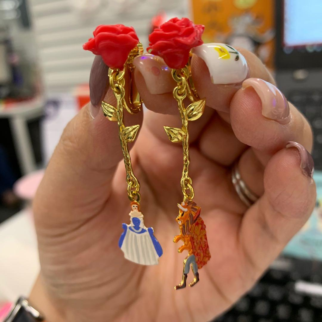 美女與野獸 N2  Mushroom Clip earrings 玫瑰花