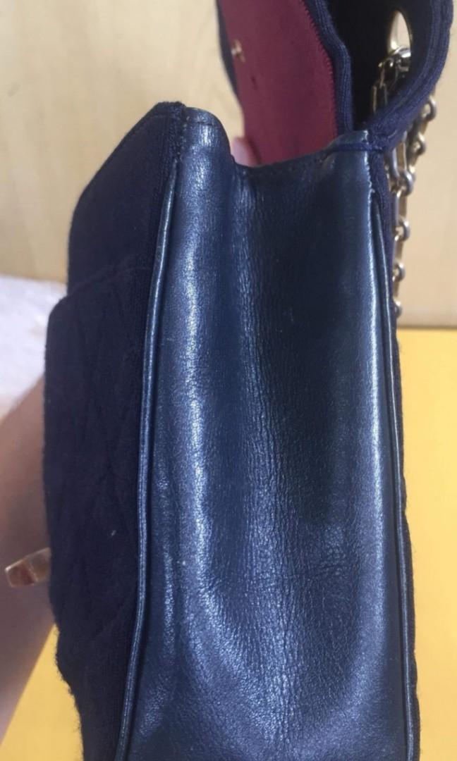 "Authentic Chanel medium 10"" jersey leather black bag"