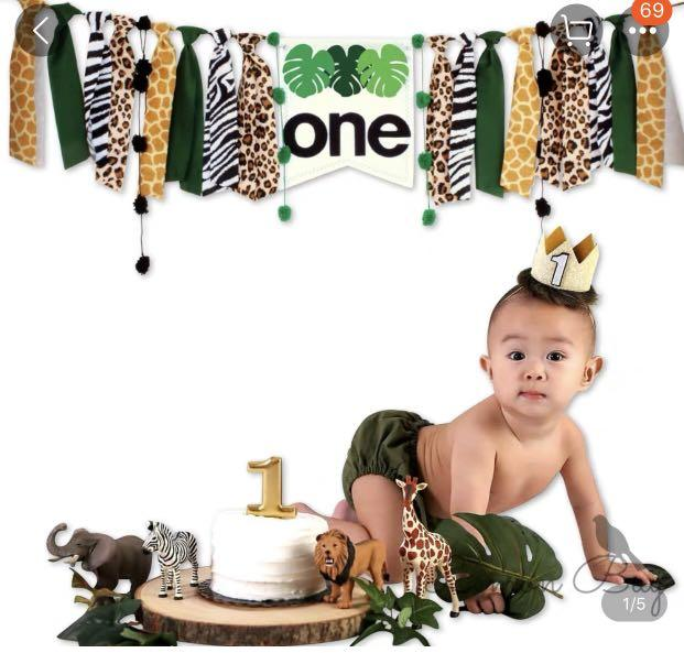 Baby 1st birthday safari banner