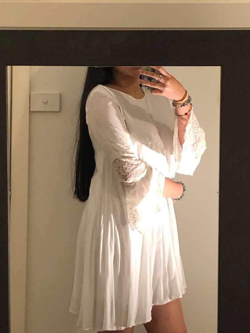 Baby doll, wide sleeved, lace detail dress for sale !!
