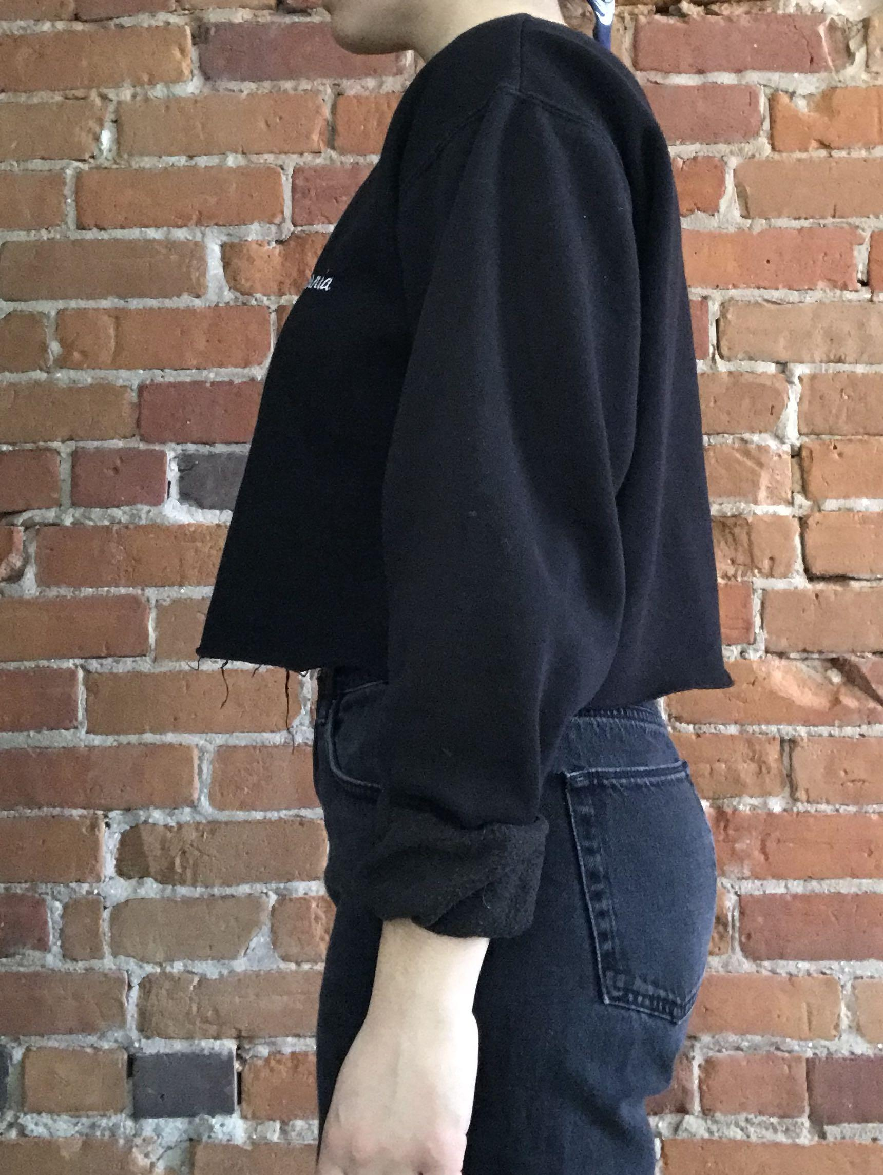 """California"" Brandy Melville cropped black sweater"