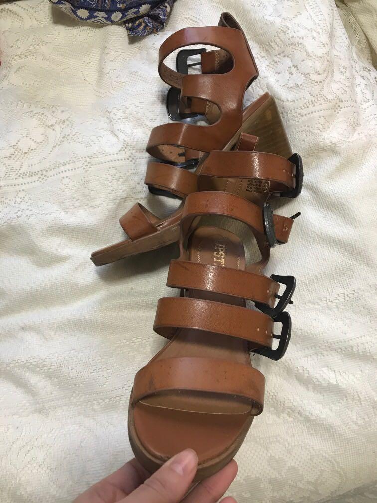 Chunky Heel boho brown leather strap buckle western heels