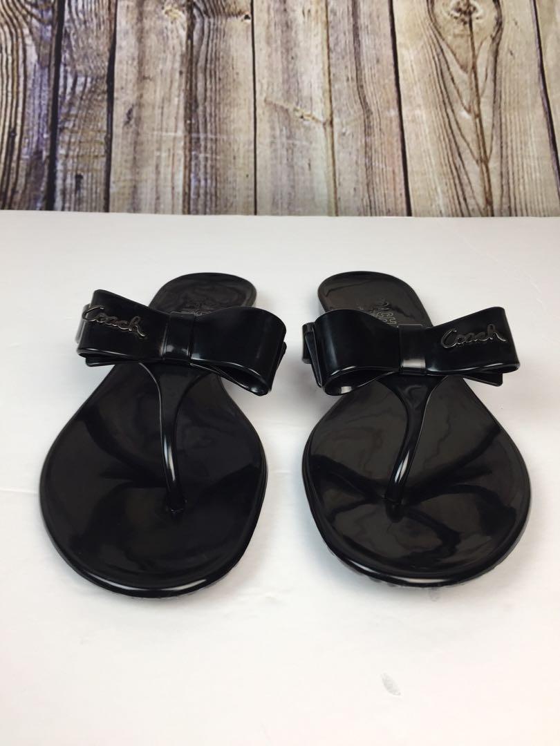 COACH Pretty Black Jelly Thong Flip Flop Bow Sandal Women's Size 7B